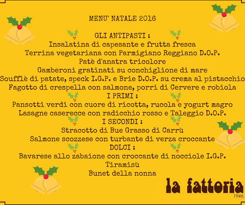 Menu Di Natale Gastronomia.The Christmas Menu 2016 La Fattoria 1946